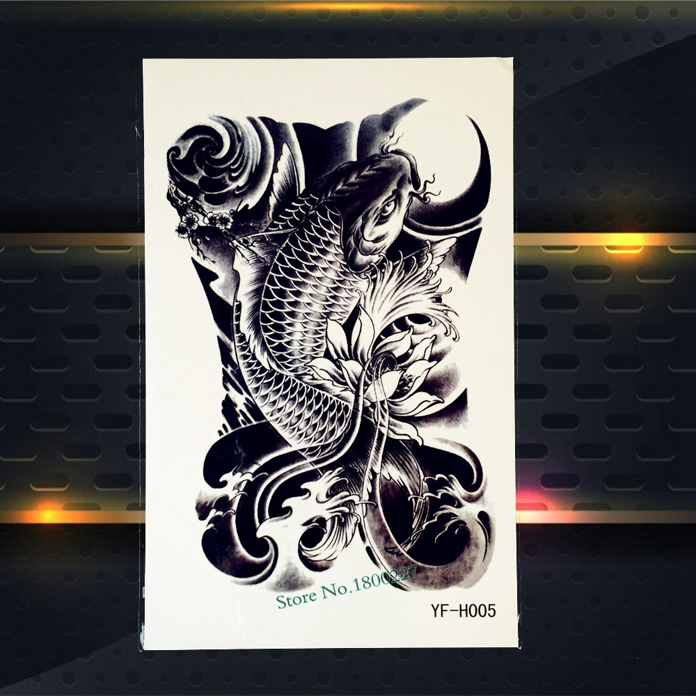 Hot Waterproof Leg Decals Carp Tattoo Men Women Body Back Art Fish Carp Wave Design Temporary Arm Tattoo Sleeve Stickers PYFH05