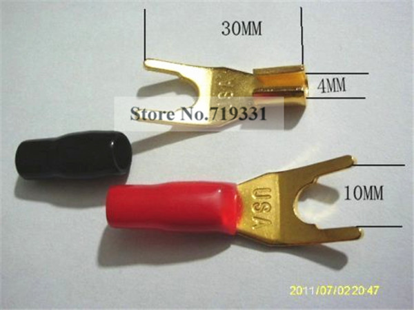 100pcs High quality GOLD Plated Solderless Speaker Banana Spade Plug