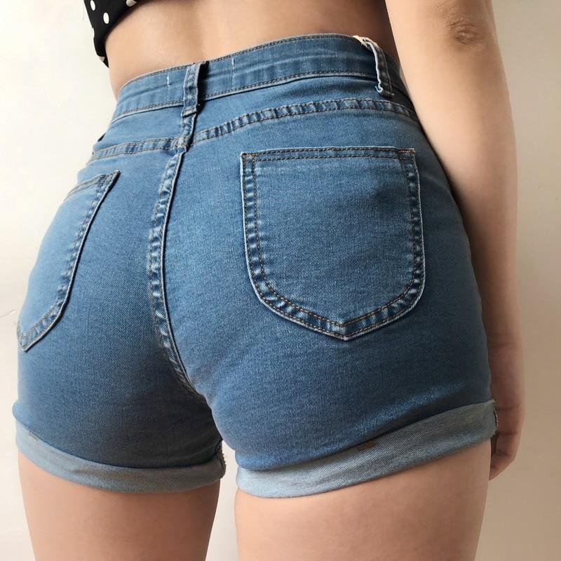 Summer Denim Shorts Female Tight-fitting Stretch Denim Shorts Women's Tight-fitting High-waist Curling Hot Shorts For Women 2019