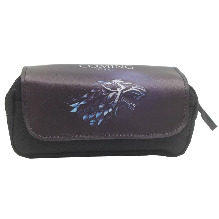 Portable Leather Cosmetic Cases Pen Pencil Holder Bag Pouch Anime Game of Thrones Attack on Titans Cartoon Style Pencil Bags