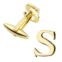 Men's jewelry high quality metal/gold fashion cufflinks, French shirt cuff links letters S cufflink name logo