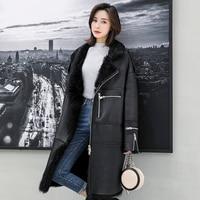 Toscana Sheepskin Coat Long Sleeve Real Sheep Fur Jacket Women Super Warm Real Sheep Fur Shearling Coats rf0270