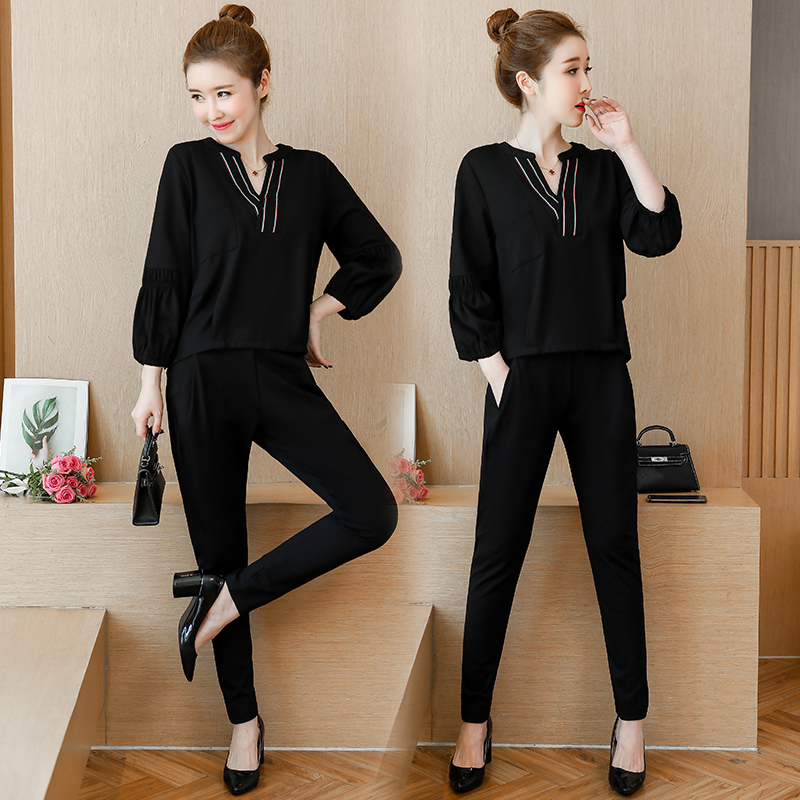 L-5xl Black Casual Two Piece Set Women Lantern Sleeve V-neck Tops And Elastic Pants Suits Fashion Korean Spring Autumn Sets 2019 33