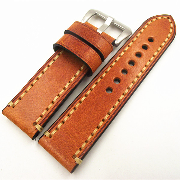 1PCS 20MM 22MM 24MM 26MM genuine leather Cow leather Watch band watch strap man watch straps -171114WS eache 20mm 22mm 24mm 26mm genuine leather watch band crazy horse leather strap for p watch hand made with black buckles