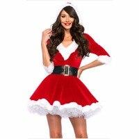 New Arrival Christmas Dress Women Christmas Costume For Adult 2017 Red Velvet Fur Dresses Hooded Sexy