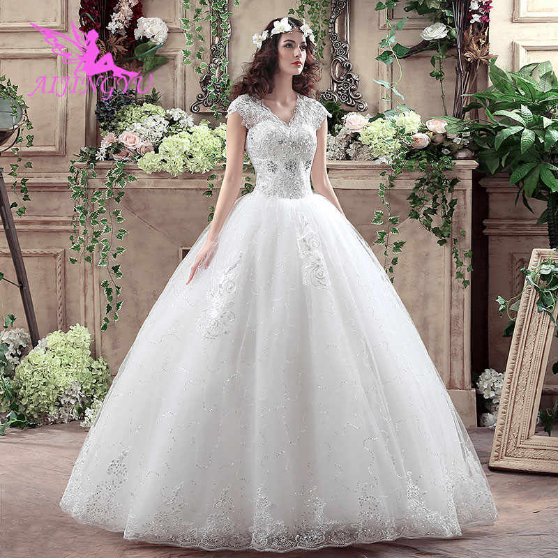 AIJINGYU 2018 beautiful free shipping new hot selling cheap ball gown lace up back formal bride dresses wedding dress WK316