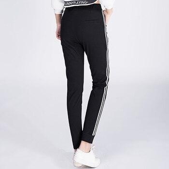 New 2017 Women Cotton Casual Pants Spring Summer Stripes Side Female Bottoms Ladies Trousers Loose Black Sweatpants Plus Size 6