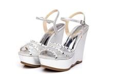 2019 Summer Fashion Elegant Footwear Peep Toe Black High Heeled Platform Sandals Silver Diamond Wedges Shoes Women Small Size