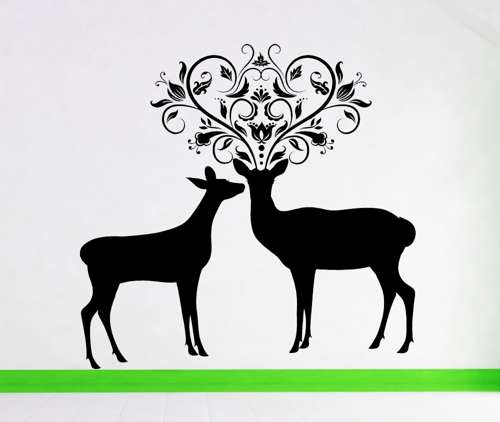 Buck And Doe Anlter Silhouette Wall Decals Hot Selling Animal Series Wall Stickers For Home Room Sweet Decor Deers Murals Wm-041