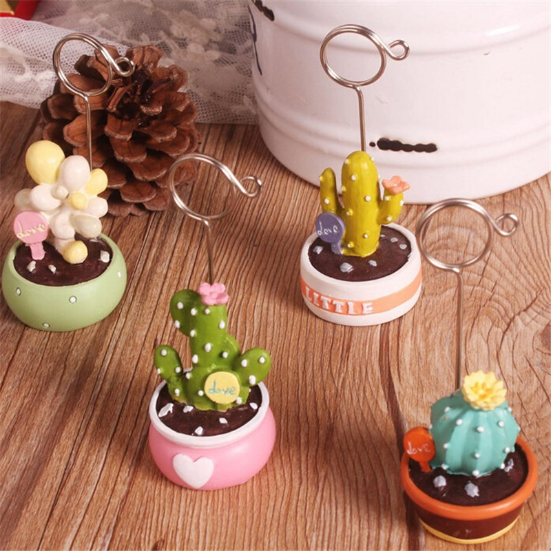 Coloffice Korean Cactus Mini Bonsai Fleshy Note Folder Desktop Message Clip Card Holder Decoration Office School Supplies 1PC