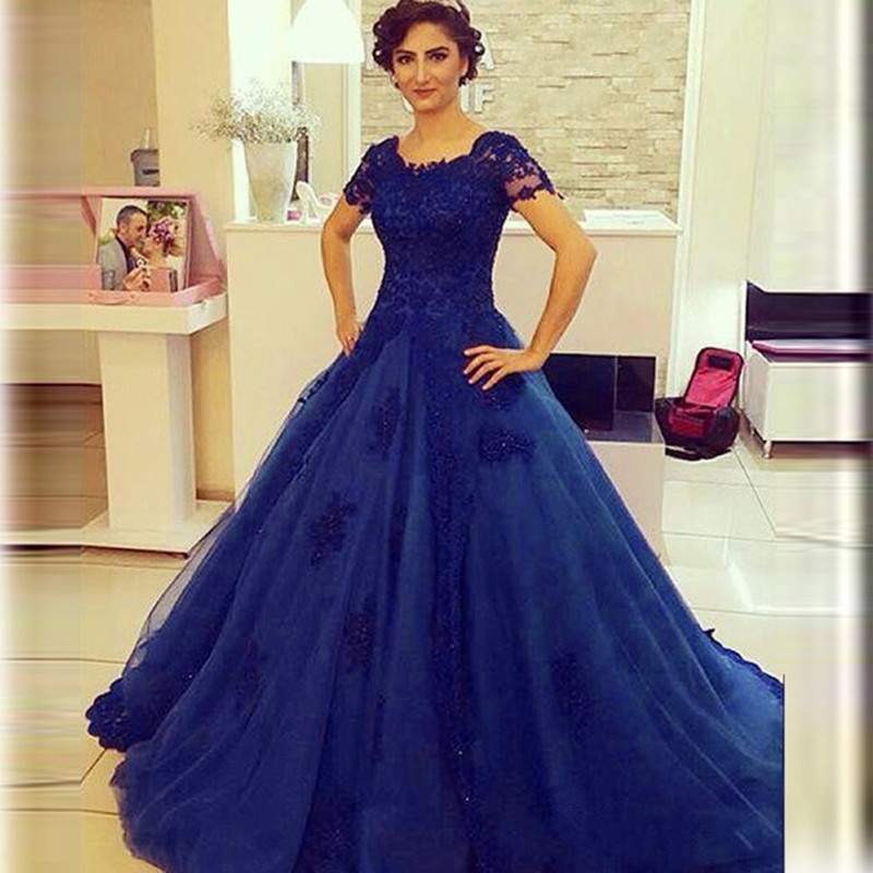 Royal Blue Short Sleeve Party Dresses – fashion dresses