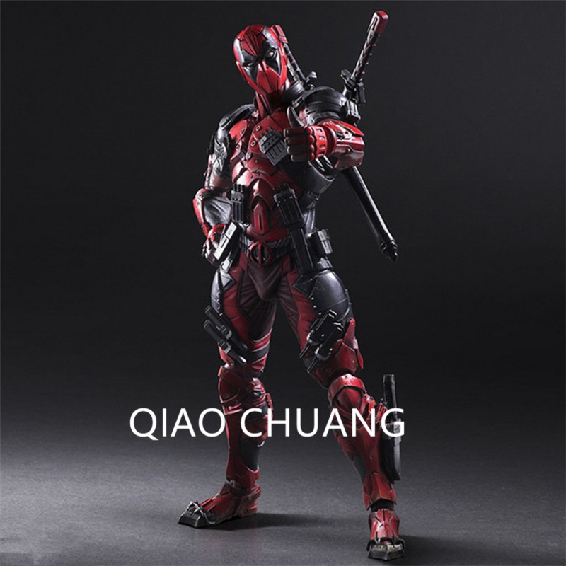 X-Men Play Arts Wade Winston Wilson Deadpool Ryan Reynolds Dual Blade Twin Caliber PVC Action Figure Model Toy G360 cute 6cm deadpool reading figure model toy wade winston wilson deadpool pvc figure collection gift