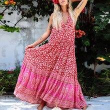 800fdc547a2 TEELYNN maxi Boho kleid 2018 herbst rayon floral print sexy sleeveless v-ausschnitt  kleider strand