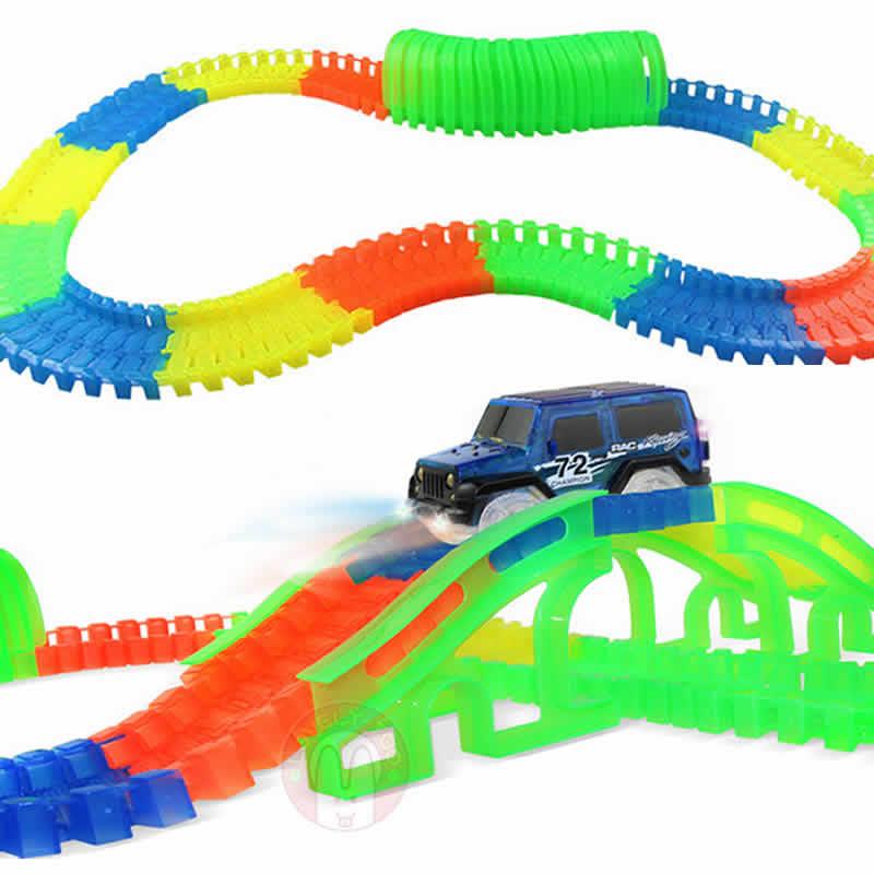 Lovely Too 220pcs / set Racing Track Toys Railway Hot Wheels Led - Vehículos de juguete para niños - foto 2