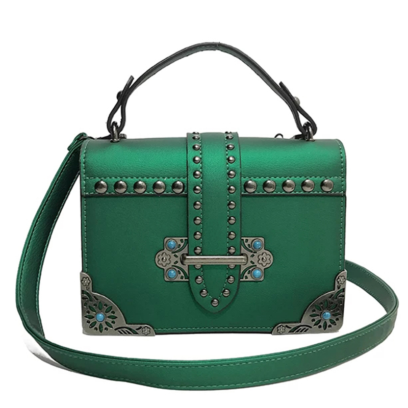 Rivet <font><b>Turquoise</b></font> Women Leather <font><b>Handbags</b></font> Vintage Sequined Small Ladies Shoulder Bags Girls baobao bag Dames Tassen bolsa sac N9037