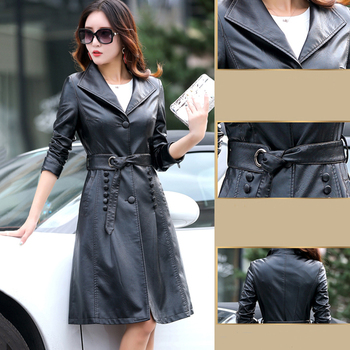 2018 Spring Autumn Women Leather Jacket Fashion High-end Genuine Leather Coats X-long Belted Slim Leather Trench Coats XY234 1