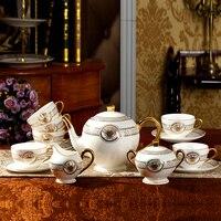 Bule de chá definir ceram alta Qualidade moda osso china xícara de café conjunto 15 pcs jogo de chá talheres oeste tarde xícara de chá e pires copo