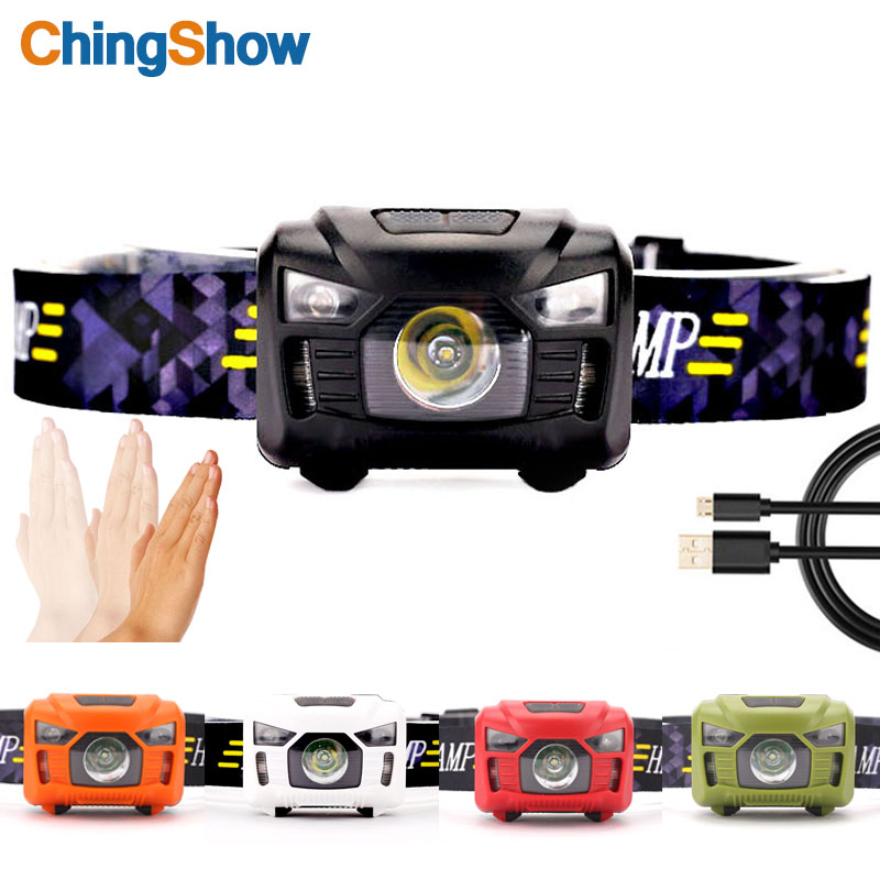LED headlamp USB Rechargeable Headlamps Waterproof Induction Headlight,USB Cable Included Red Light 7 Modes, Running Jogging
