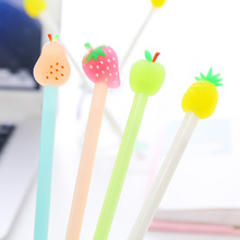 4Pcs Korean Kawaii Candy Fruit Gel Pen Cute Apple Pear Strawberry Pineapple Girl Gift Material Office School Supplies Stationery