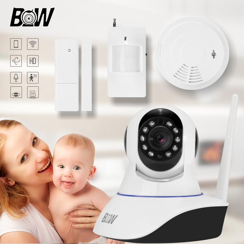 Wifi Camera Alarm Sensor + Door Sensor IR Motion Sensor Smoke Detector HD Baby Monitor Wireless Camera IOS Android Control BW02S bw wireless wifi door