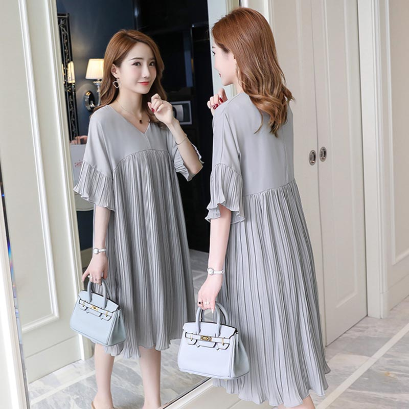 V Neck Pleated Chiffon Maternity Dress 2019 Summer Korean Dresses Loose Clothes for Pregnant Women Pregnancy Clothing gravida Dresses     - title=