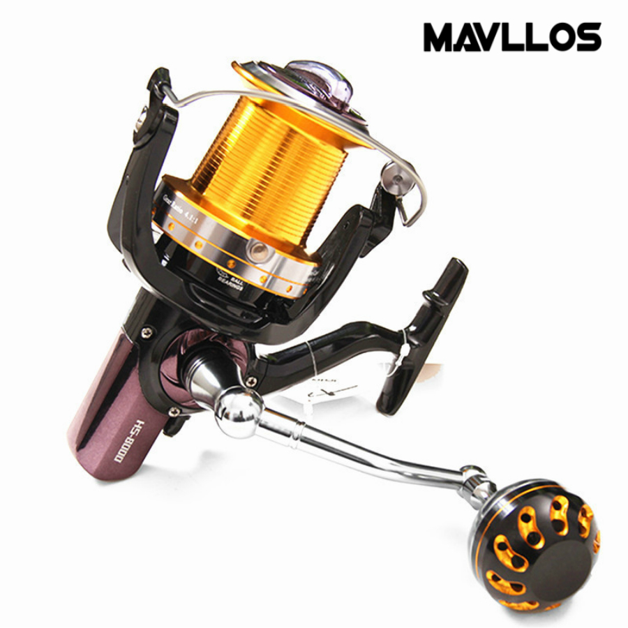 Mavllos Large Profile Power Saltwater Fishing Spinning Reel Aluminum Alloy Handle Spool Long Shot Jigging Reel For Fishing Reels yf 9000 surf casting reels spinning reel long shot fishing reel with a spare metal spool max drag 18kg