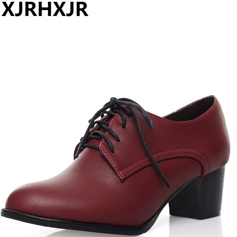 XJRHXJR British Style Women Medium Heel Shoes Fashion Pointed Toe Lace Up Pumps Ladies Casual Leather Shoes Square Heel 34-43 xiaying smile new spring autumn women shoes british style retro casual pantshoes lace shoes square heel pointed toe rubber pumps