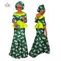 BRW Cordón de la Impresión de Dos Piezas de Falda Bazin Riche Africano Dashiki africano Cordones Ropa para Mujeres Ruffles Crop Top y Falda WY1149