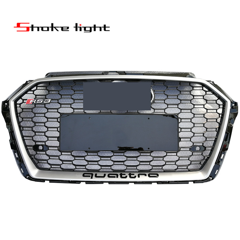 Refit Audi A3 S3 RS3 Quattro 2017-2018 New ABS Black Silver Honeycomb grille grill front ...