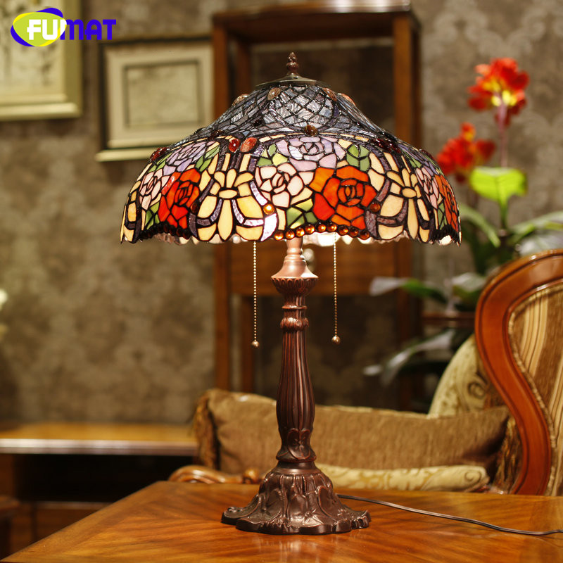 FUMAT Stained Glass Lamp High Quality Rose Shade Table