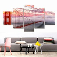 2017 Modern New Arrival Painting No Frame Living Room Home Wall Decoration Fabric Golden Gate Bridge