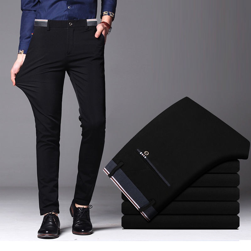 Suit Pants Formal-Trousers Business Casual Autumn Male Men's Fashion Elastic Plus Straight