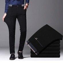 Мужские весенние осенние модные деловые повседневные длинные штаны, мужские эластичные прямые официальные брюки, большие размеры 28-40