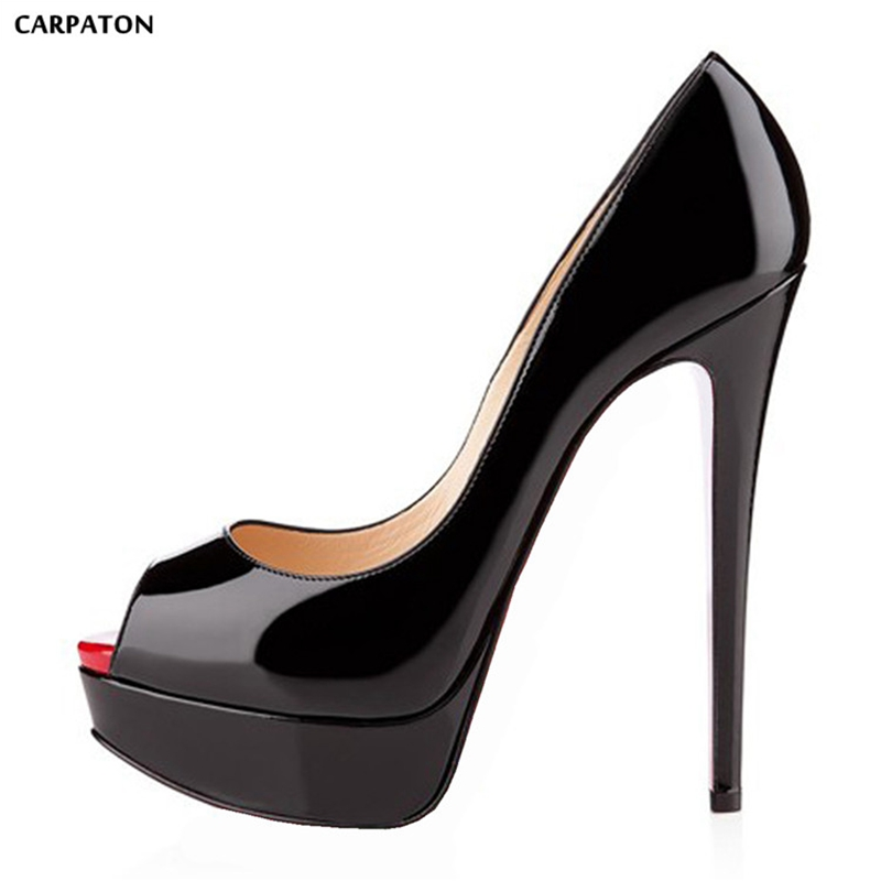 Carpaton 2019 New women Solid high heels Fashion Platform Thin heel design Office Party must haves