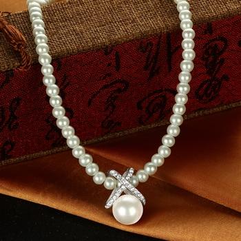 MINHIN Luxury Imitation Pearl Beads Choker Necklace Women Wedding Engagement Neck Collar Jewelry