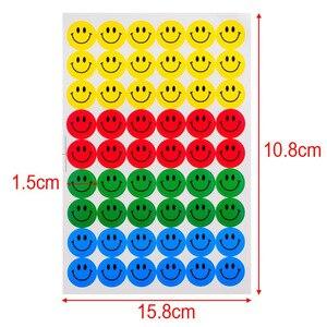 MOONBIFFY جديد لطيف 10 ورقة (540 pcs) ملون جولة ابتسامة الوجه ملصقات صائق الاطفال الأطفال المعلم الثناء الجدارة مكتب