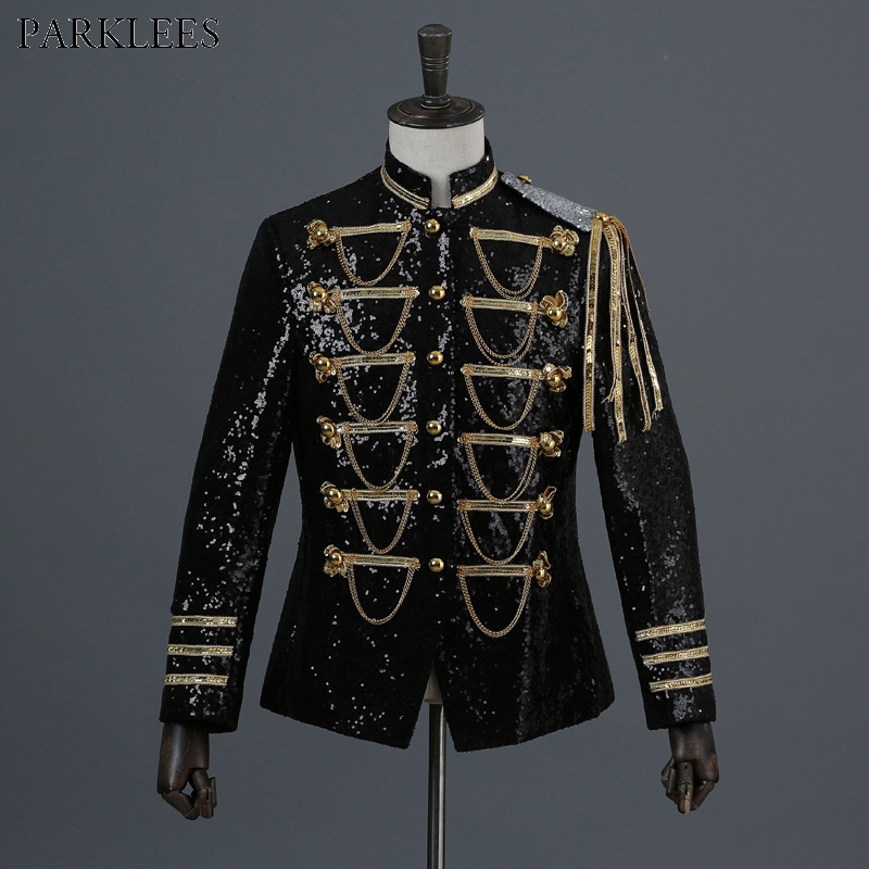 Shiny Sequin Blazer Men Cool Glitter Military Dress Tuxedo Men Blazer Suit Jacket Nightclub Stage Show Cosplay Blazer Masculino