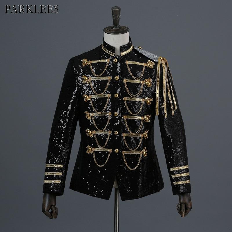 Shiny Sequin Blazer Men Cool Glitter Military Dress Tuxedo Men Blazer Suit Jacket Nightclub Stage Show Cosplay Blazer Masculino
