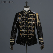 Shiny Sequin Blazer Men Cool Glitter Military Dress Tuxedo Suit Jacket Nightclub Stage Show Cosplay Masculino