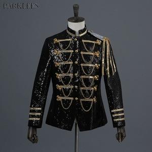 Image 1 - Shiny Sequin Blazer Men Cool Glitter Military Dress Tuxedo Men Blazer Suit Jacket Nightclub Stage Show Cosplay Blazer Masculino