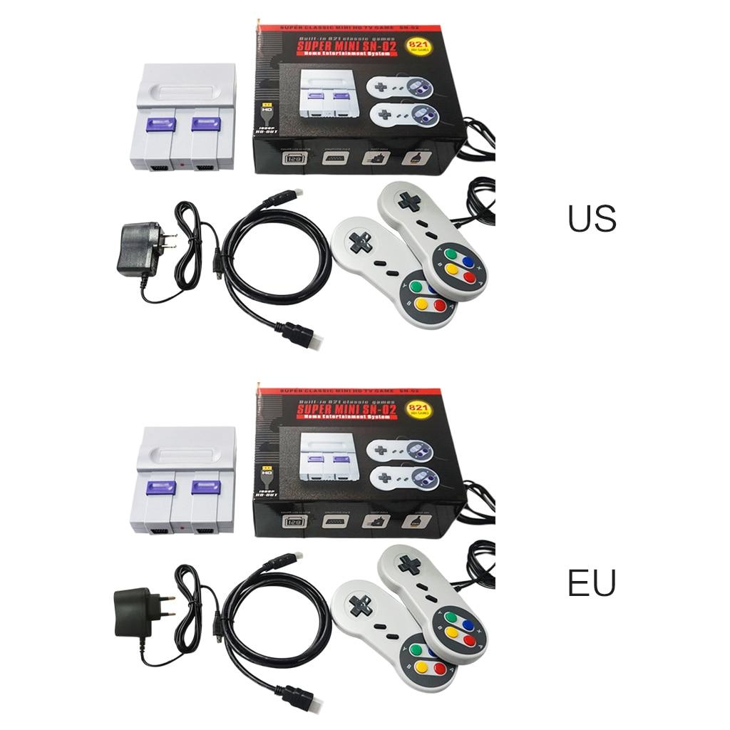 US/UE SUPER MINI SNES NES Retro consola de videojuegos clásico reproductor de TV incorporado 821 juegos con juegos dobles