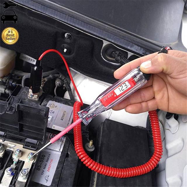 Universal 5-48V LCD Digital Automotive Car Circuit Tester Auto Voltage Meter Power Probe Lamp Test Pen with 140inch Spring Wire