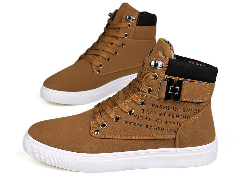 6110d472adab 2016 Hot Hommes Chaussures De Mode Chaud Automne Hiver Hommes Bottes  Automne Chaussures en cuir Pour Homme New High Top Toile Casual Chaussures  Hommes-in ...