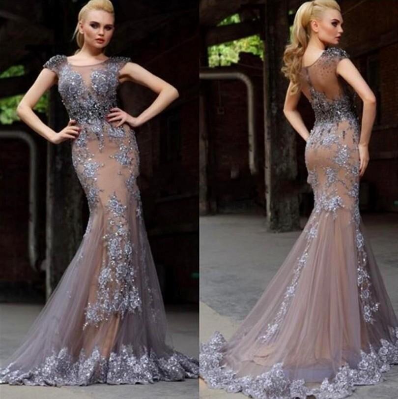 Grey Lace Evening Dresses Mermaid Cap Sleeve Sheer Illusion Bodice ...