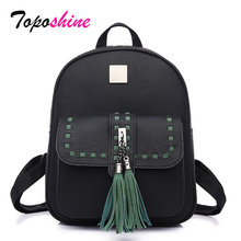 Green Tassel Threading Fashion Women Backpack Big Storage Space Leather Bag Mochila School Top-handle Female