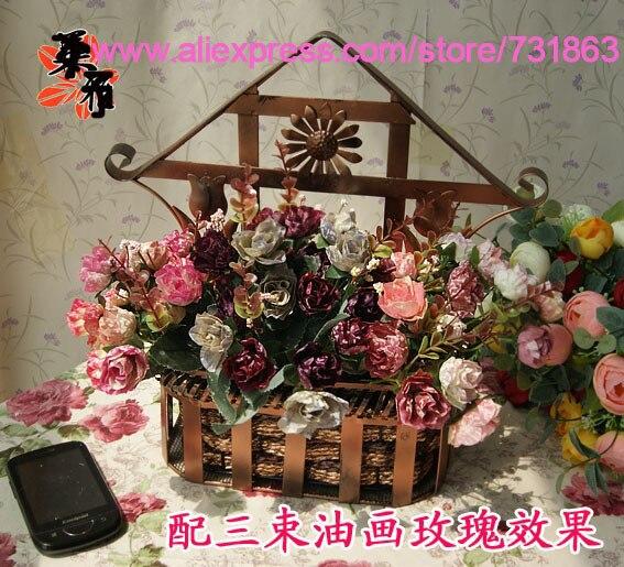 Small Artificial Flowers Decoration Fence Flower Basket Handmade