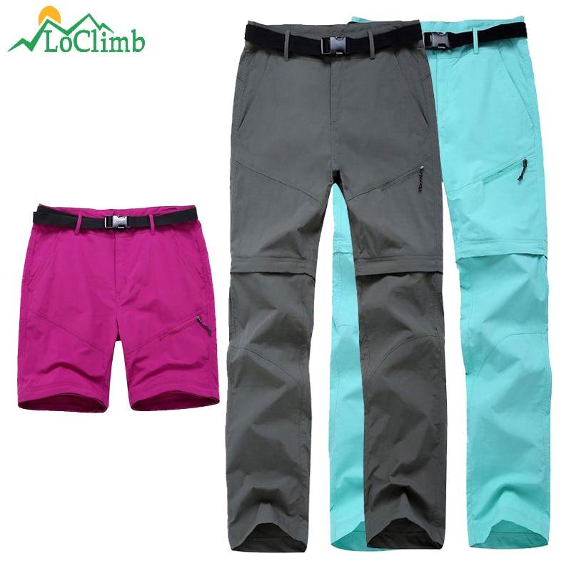 LoClimb Women's Outdoor Hiking Pants Women Summer Quick Dry Trousers Travel/Climbing/Camping/Trekking Pants Sports Shorts AW033