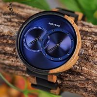 בובו ציפור מרובה אזור זמן עץ שעון לגברים נשים אופנה יוקרה עץ שעוני יד שעון reloj hombre DropShipping V-R10