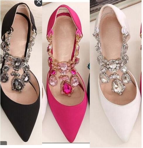 Fashion pointed toe high heel shoes 2017 spring crystal embellished crystal high heels woman wedding shoes Hot Sale 2017 new fashion spring ladies pointed toe shoes woman flats crystal diamond silver wedding shoes for bridal plus size hot sale
