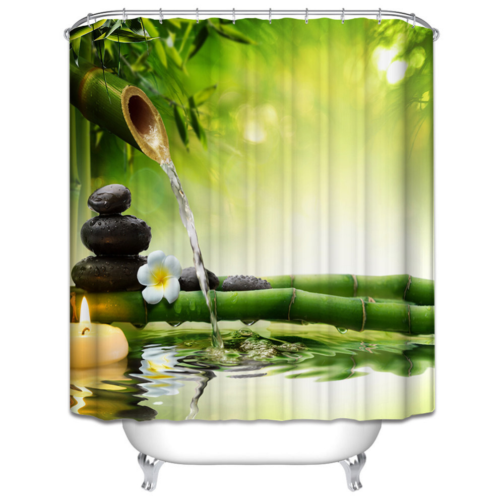 New Design Shower Curtain Jasmine Flower Spa Zen Green Bamboo
